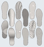 Shoe soles. Several variants of vector patterns of shoe soles Stock Photography