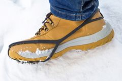 Shoe spikes for hiking. Shoe spikes for winter hiking Royalty Free Stock Image