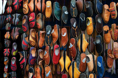 Shoe stall on the market in Morocco stock image