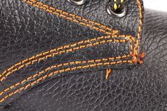 Shoe stiches on boot close up. Royalty Free Stock Image