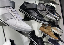 Shoe Store. Various shoes lined up at a shoe store Stock Photo