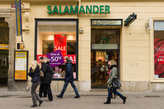 Shoe Store brand Salamander. Royalty Free Stock Photography