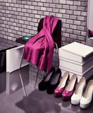 At the shoe store. Close-up of the chair, red scarf,  bag and  s Royalty Free Stock Photography