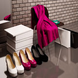 At the shoe store. Close-up of the chair, red scarf,  bag and  s Royalty Free Stock Images