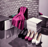At the shoe store. Close-up of the chair, red scarf,  bag and  s Stock Image