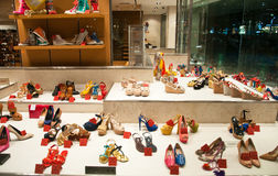 Shoe store in the evening in Athens. Greece. Royalty Free Stock Photos