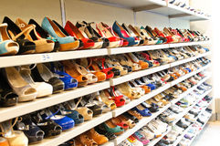 Shoe store in Milan. Female shoes in shoe store form Milan. Different sizes and brands Stock Photos