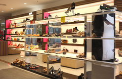 Shoe In Store. Shoe store in a shopping mall royalty free stock photography