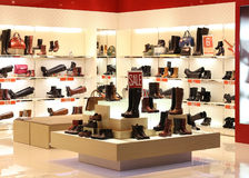 Shoe In Store. Shoe store in a shopping mall royalty free stock image