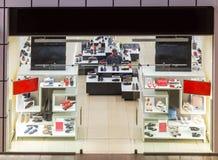 Shoe store showcase, luxury footwear shop Stock Images