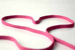 Shoe String Heart. Shoe string in the shape of a heart royalty free stock photography