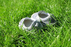 Shoe in a summer grass Stock Images