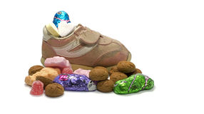 Shoe with sweets from Sinterklaas Stock Photo