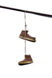 Shoe Tossing, Old Sneakers Hanging on Wire Stock Image