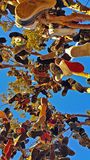 Shoe tree of Hallelujah Junction, California. A local tradition of shoe flinging into this lone tree stock photo