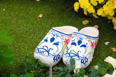 Shoe vase in a garden Stock Image