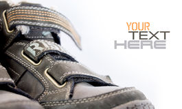 Shoe with velcro and sample text Royalty Free Stock Photography