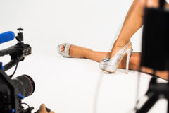 Shoe video shoot Royalty Free Stock Image