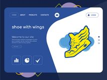 Shoe with wings Landing page website template design. Quality One Page shoe with wings Website Template Vector Eps, Modern Web Design with flat UI elements and Royalty Free Stock Photography