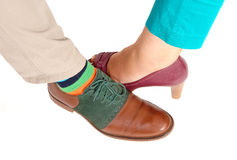 The shoe of a woman and man. Stock Photo