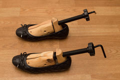 Shoe with wooden stretcher Royalty Free Stock Photos