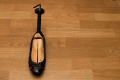 Shoe with wooden stretcher Stock Images