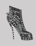 Shoe from words. Fashion Woman  Shoe from words Stock Images