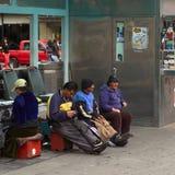 Shoeblacks at Cevallos Park in Ambato, Ecuador Royalty Free Stock Images