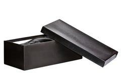 Shoebox nero aperto Immagine Stock