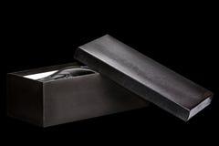 Shoebox nero aperto Fotografia Stock Libera da Diritti
