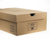Shoebox with Nike logo on it. Royalty Free Stock Photography