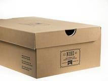 Shoebox with Nike logo on it. Royalty Free Stock Photography