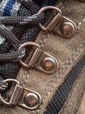 shoelace för hål för kängadetalj fotvandra Royaltyfria Foton