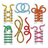 Shoelace icons set vector illustration