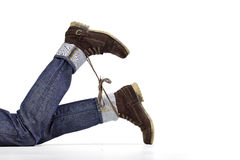 Shoelace prank stock images