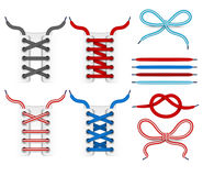 Shoelace tying vector icons. Color shoelace for footwear, colored lace shoe illustration Stock Photo