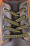 Shoelaces on boot close up. Stock Image