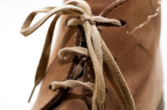 Shoelaces. Brown leather shoes, bounded shoelaces Royalty Free Stock Photos