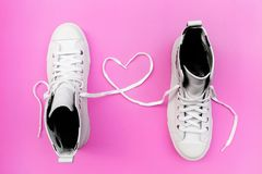 Shoelaces with heart sign. Love Valentine`s day concept.symbol of love Royalty Free Stock Photo