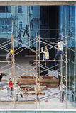 Shoeless Scaffolders scaffolding high rise Royalty Free Stock Image
