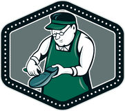 Shoemaker Cobbler Shield Cartoon Royalty Free Stock Photography