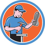 Shoemaker With Hammer Shoe Cartoon Royalty Free Stock Photography