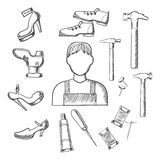 Shoemaker profession and tools sketch icons Stock Image