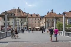 Shoemaker's bridge, Ljubljana, Slovenia. Shoemaker's Bridge, the oldest bridge of the romantic medieval city Ljubljana, the capital of Slovenia Stock Images