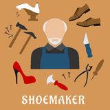 Shoemaker with shoes and tools, flat icons Royalty Free Stock Image
