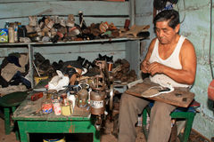 Shoemaker in South America Royalty Free Stock Photos
