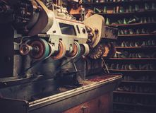 Shoemaker studio craft grinder, polishing machine. Stock Image