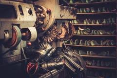 Shoemaker studio craft polishing machines. Royalty Free Stock Photography