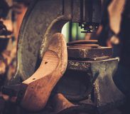 Shoemaker studio craft professional press machine. Stock Photo