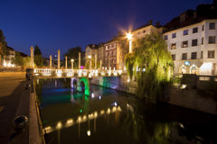 Shoemakers' bridge in Ljubljana Royalty Free Stock Photo